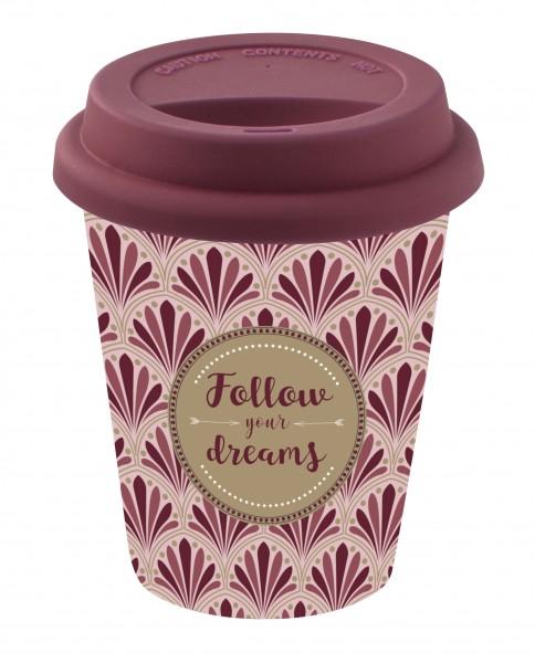 To-Go Kaffeebecher aus Porzellan, bordeaux 350 ml