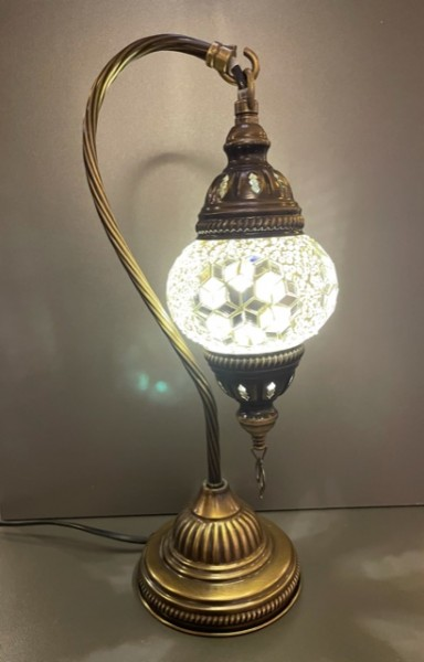 Orientalische Glasmosaiklampe hängend weiß