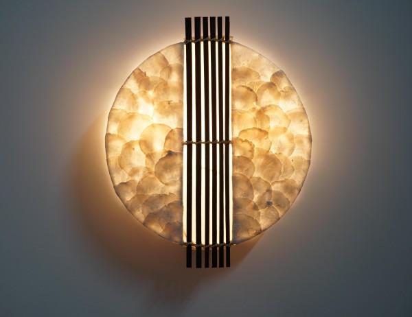 Wandlampe Capiz-Muscheln mit Bambusstäben in der Mitte