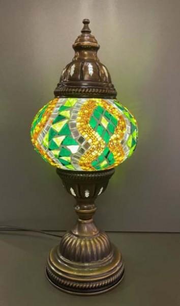 Orientalische Glasmosaiklampe stehend grün-gold
