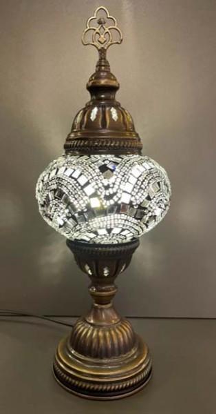 Orientalische Glasmosaiklampe stehend weiß