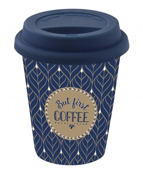To-Go Kaffeebecher aus Porzellan 350 ml dunkelblau